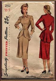 1940s vintage women's peplum dress