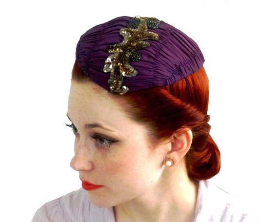 1940's purple hat
