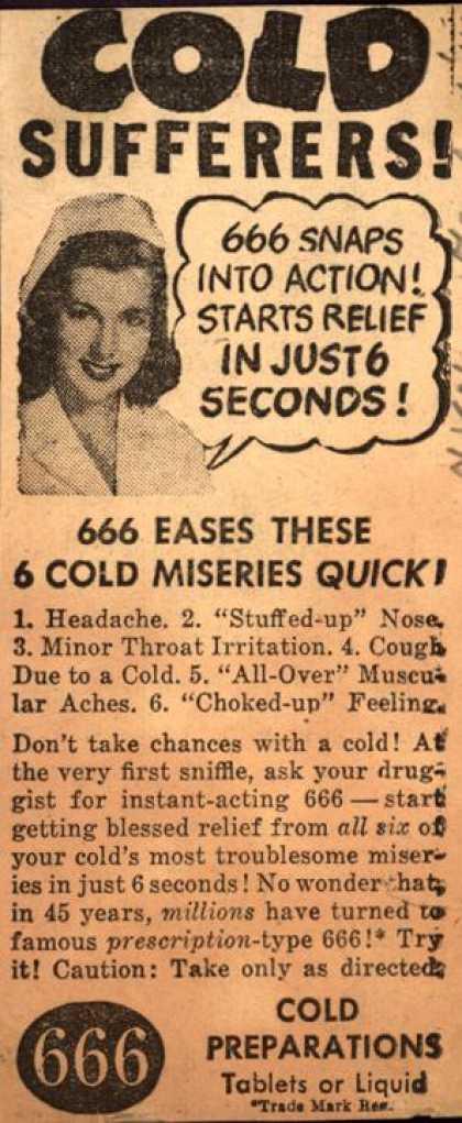 1940s cold medicine ad
