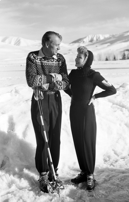 Gary Cooper and Claudette Colbert sun Valley