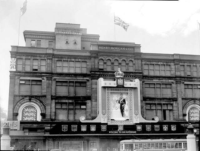 Morgan's department store decorated for the 1939 Royal Tour. Montreal, Canada