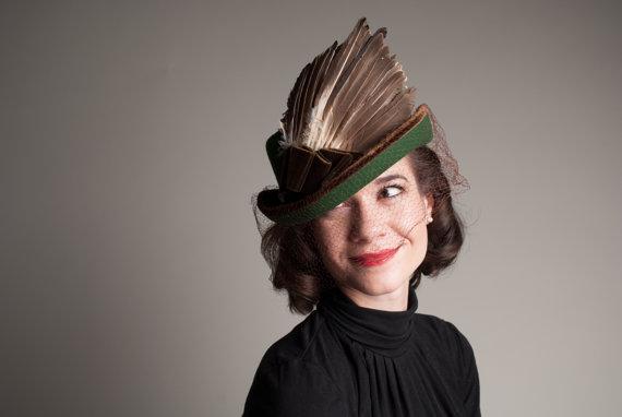 1940s wool tilt hat