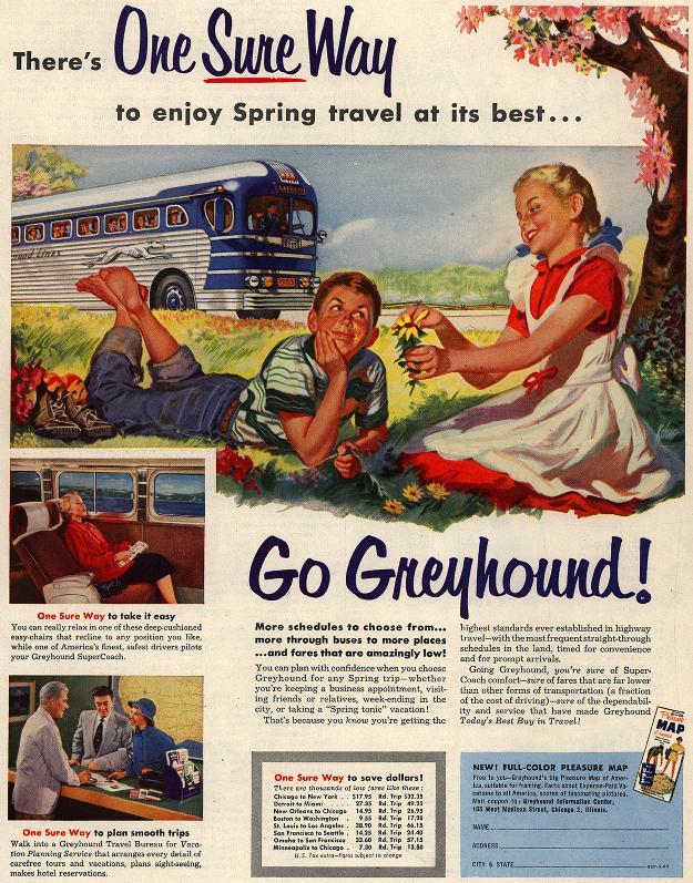 Greyhound vintage travel ad