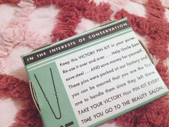 vintage wartime victory hair pin kit