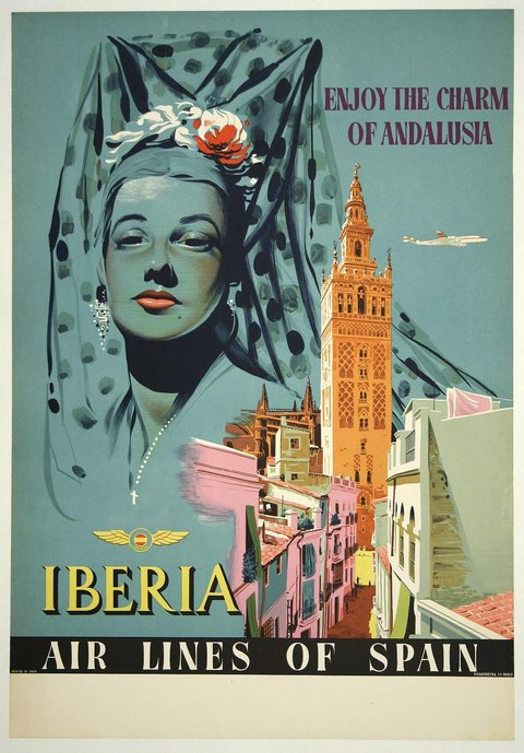Iberia vintage travel poster spain