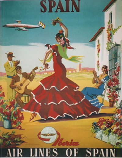 Iiberia airline vintage travel poster 1955