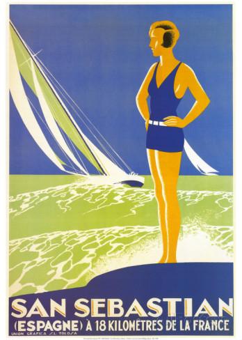 san-sebastian 1930s travel poster