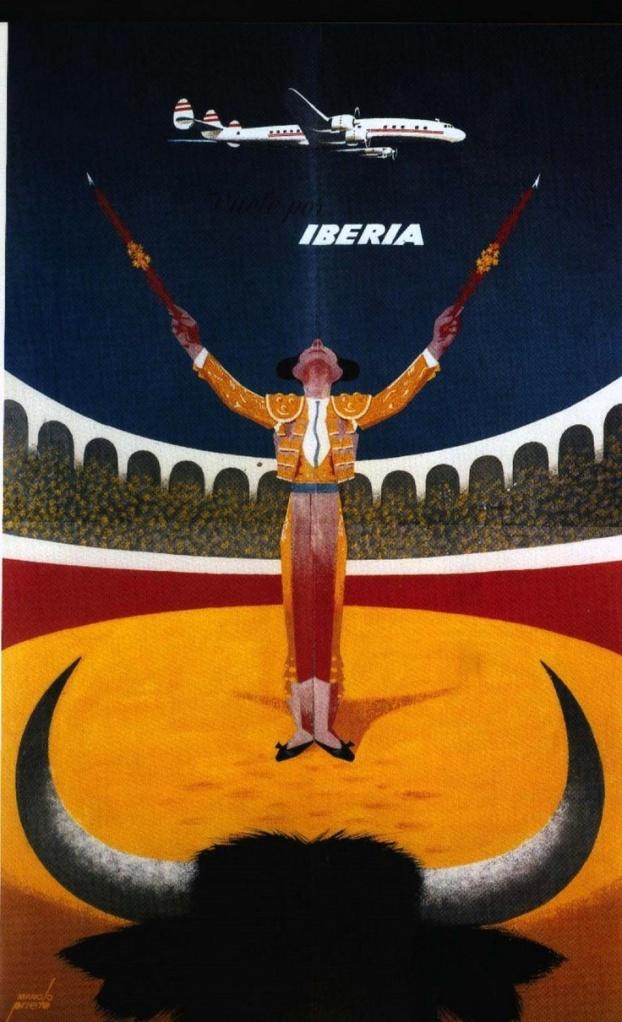 Vintage Spain travel poster bull fighter
