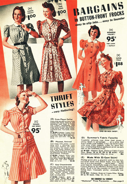 1940s cotton house dress