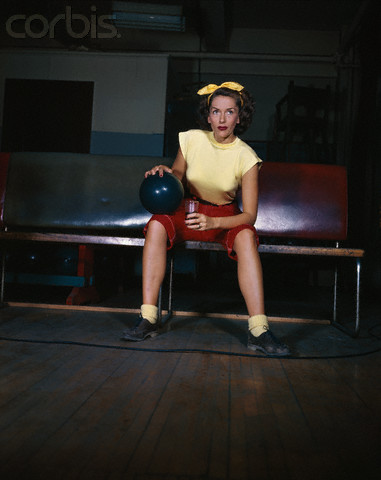 Jinx Falkenburg Sitting with Bowling Ball and Soft Drink