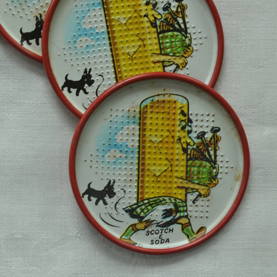 1950s metal coasters with scottie dogs