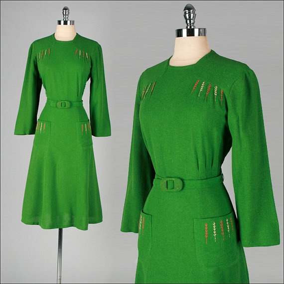 Vintage 1940s Dress Green Wool Felt