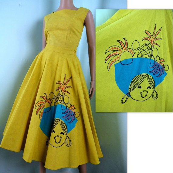 1950s vintage dress with applique