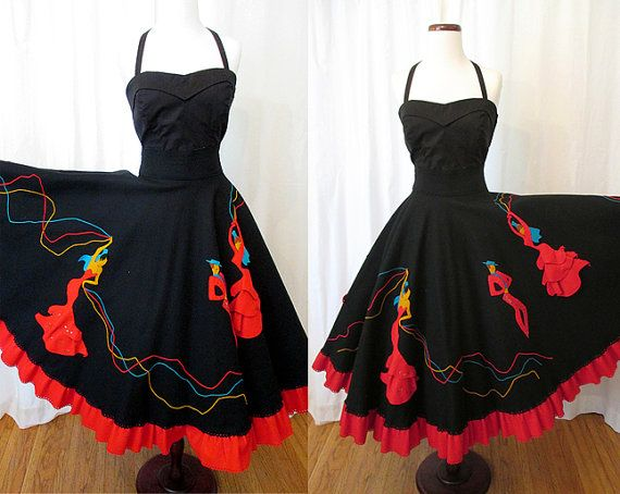 "1950's Circle Skirt with 3D Spanish Dancer Appliques by ""Juli Lynne Charlot of California"""