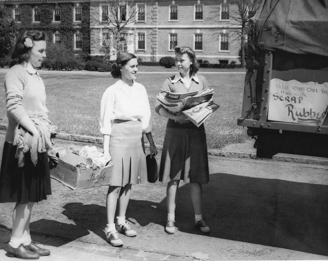 1940s college students doing their part for the war effort