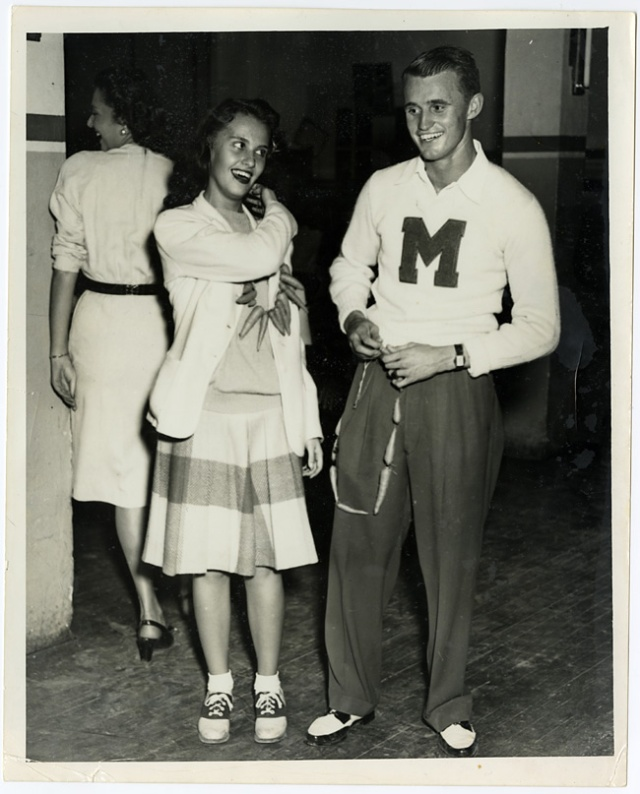 1940s guy and girl in college