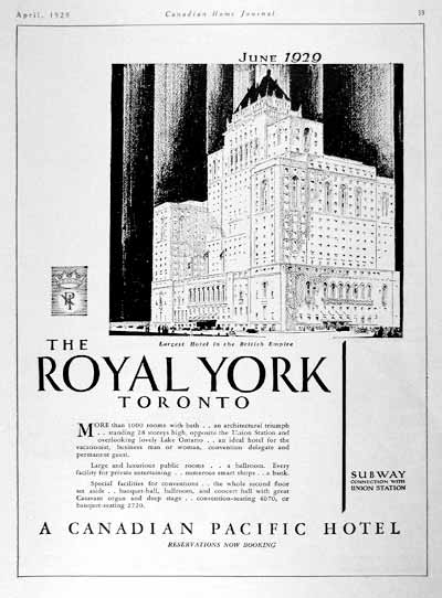 1929 Royal York hotel Opening Ad