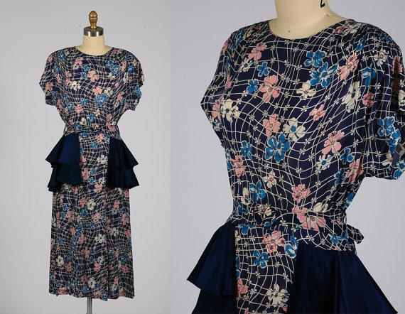 1940s rayon dress vintage