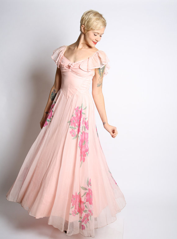 1940s vintage floor length gown
