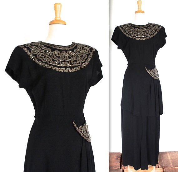 1940s Black Crepe Beaded Gown Vintage