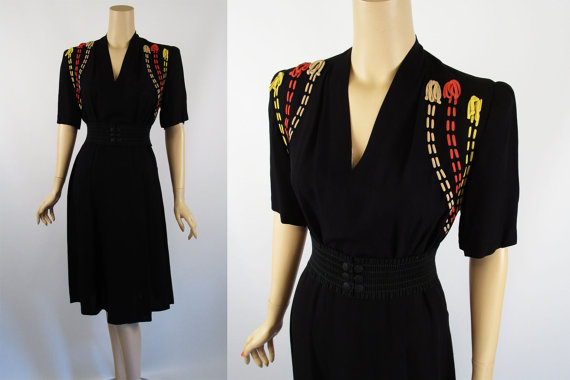 1940s Vintage Novely Dress