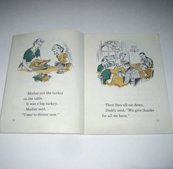 1950s Vintage Childrens Book,-thanksgiving