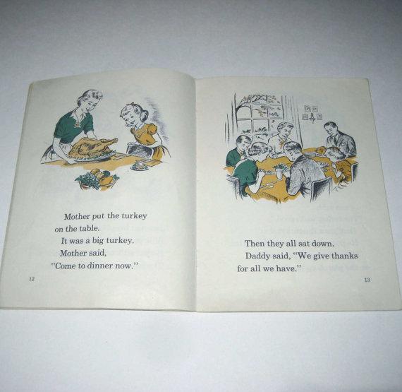 1950s Vintage Childrens Book,-thanksgiving