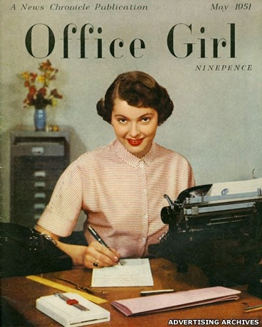 1953 vintage girl working at a desk