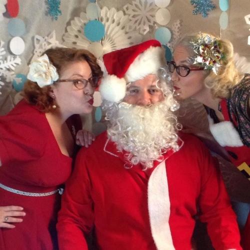 Vintage ladies with Santa